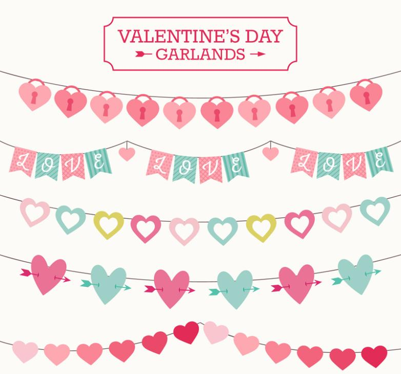 5 Creative Valentine's Flag Vector