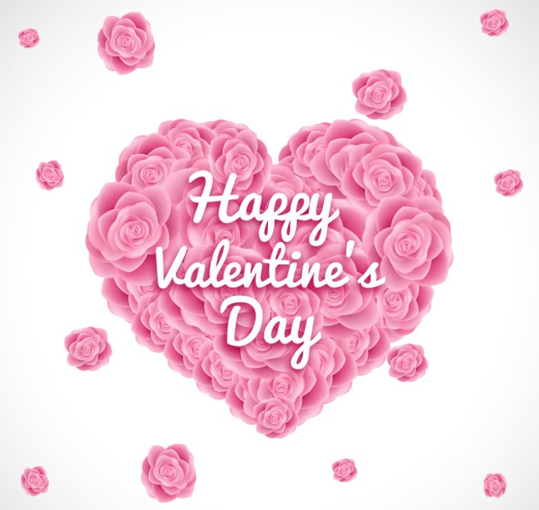 Pink Roses Love Valentine's Day Vector