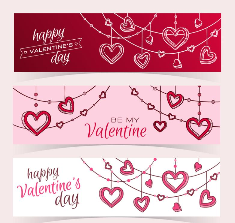 Hang Act The Role Of Banner Three Valentine's Day Love Vector