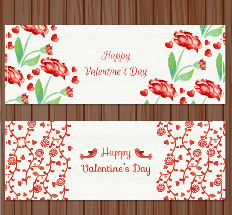 Two Watercolor Valentine's Day Flowers Banner Vector