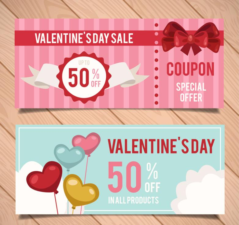 Two Valentine's Day Promotional Banner Vector
