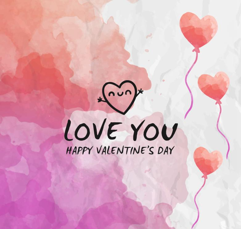 Creative Watercolor Valentine's Cards Vector