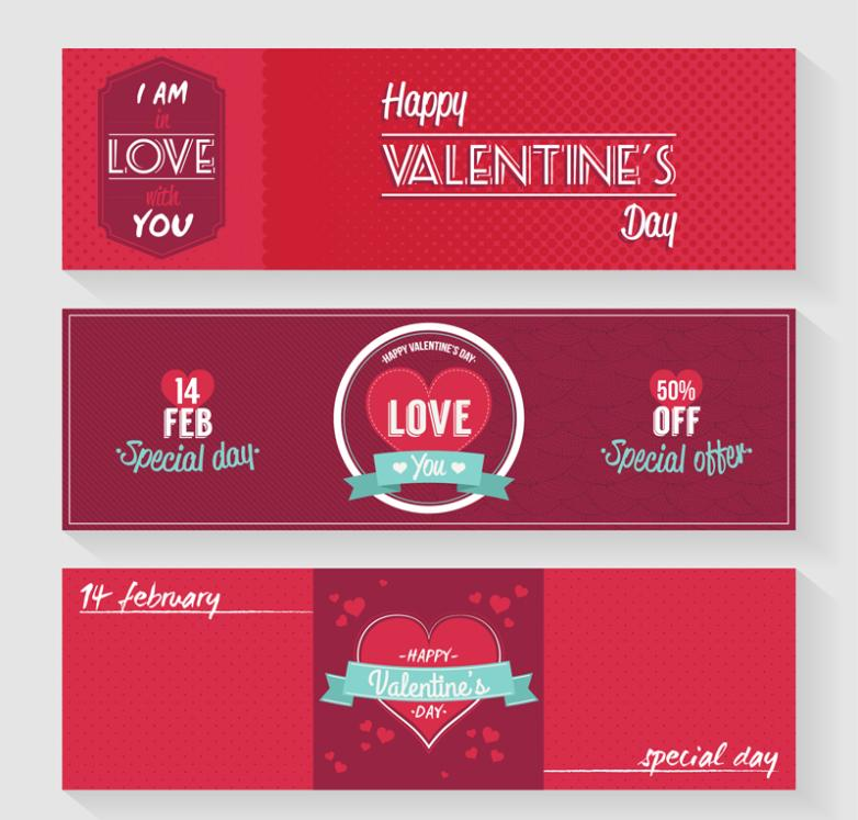 Three Red Banner Valentine's Day Vector