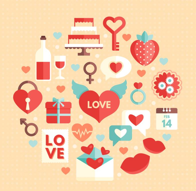 18 Elements Of Valentine's Day Vector