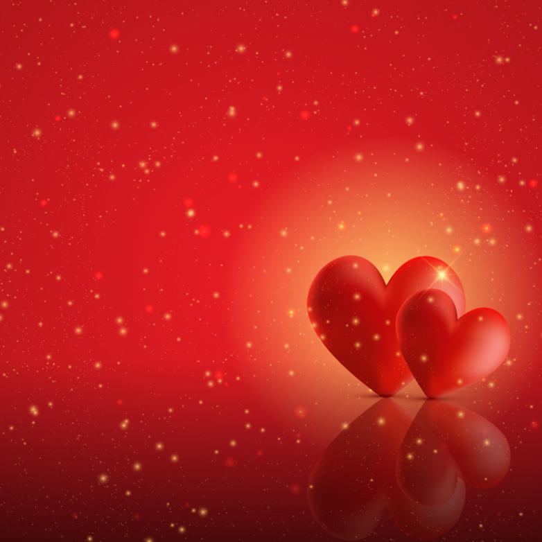 The Red Solid Double Heart Background Vector