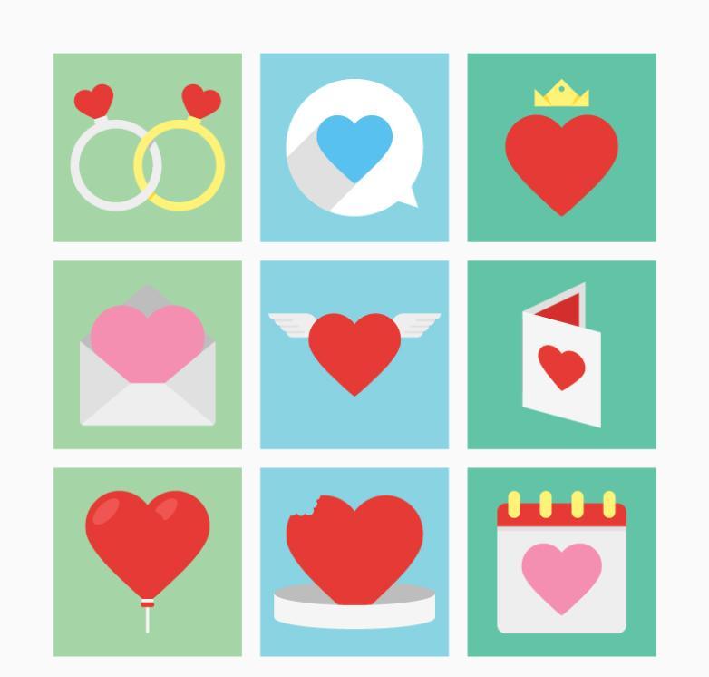 Nine New Icon Flattening Valentine's Day Vector