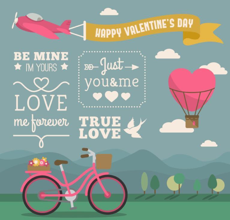 Creative Valentine's Day Eight Elements Vector