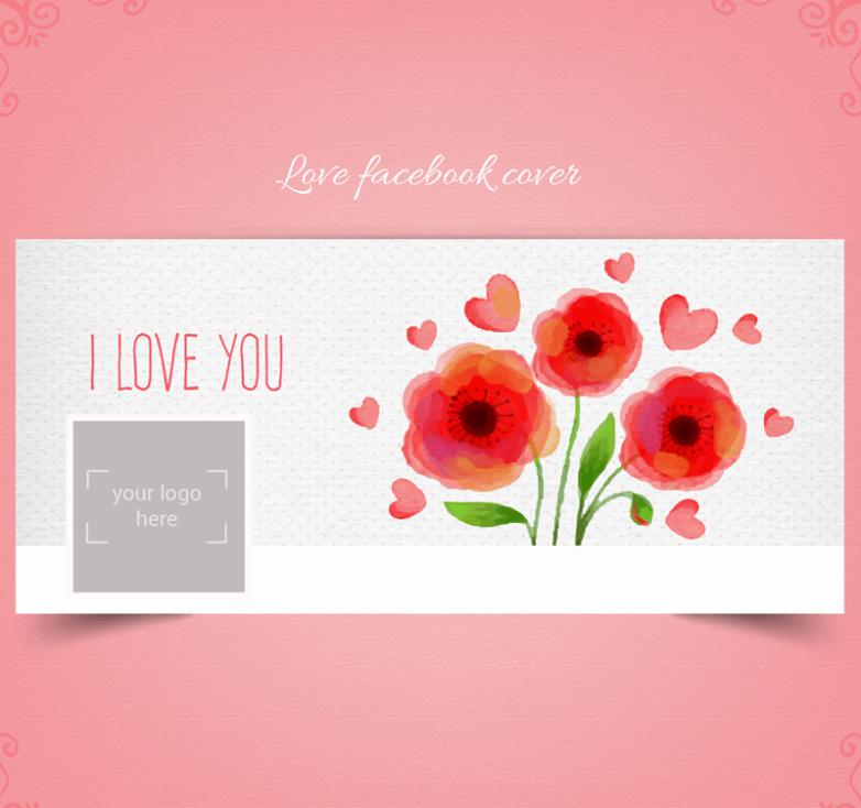 Watercolor Flowers Face Book Cover Image Vector