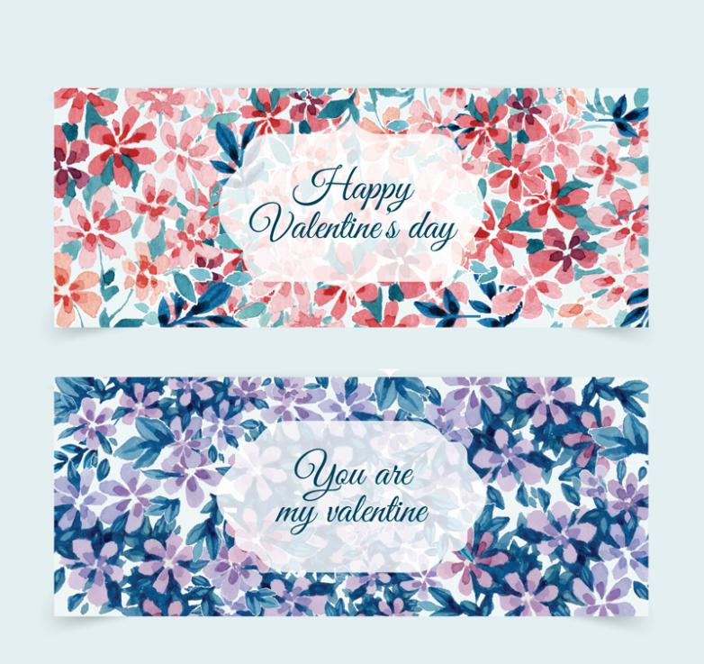 Two Watercolor Flowers Banner Vector