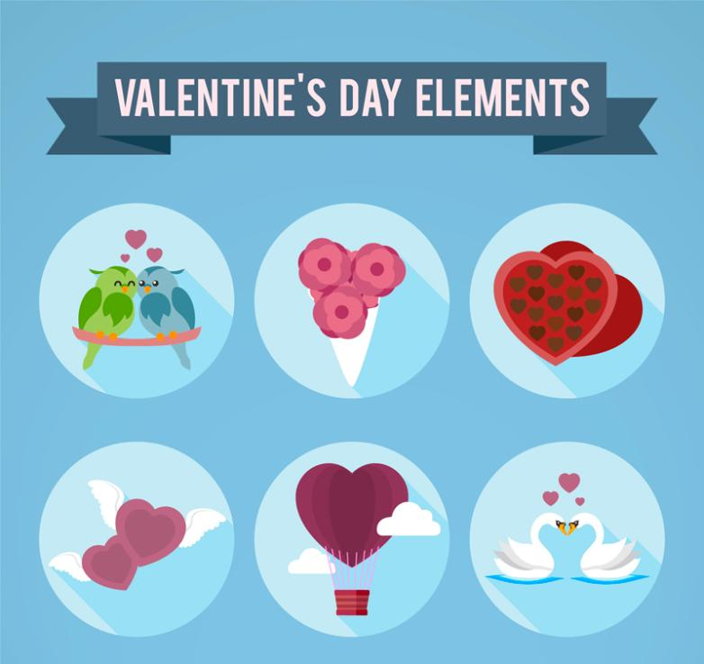 Six Round Icon Valentine's Day Vector