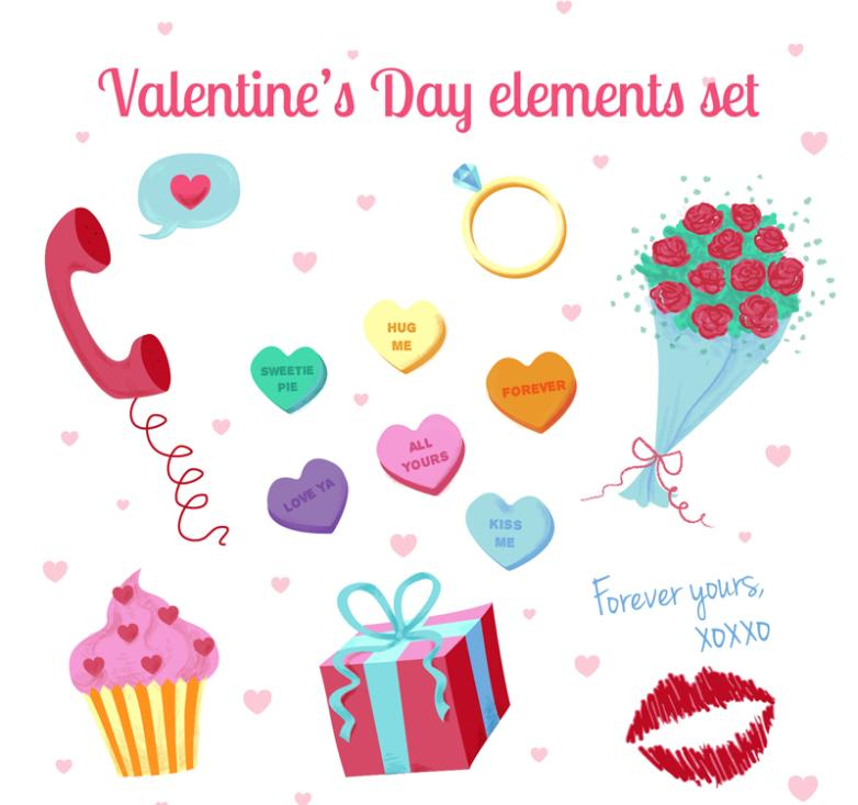 12 Color Elements Of Valentine's Day Vector