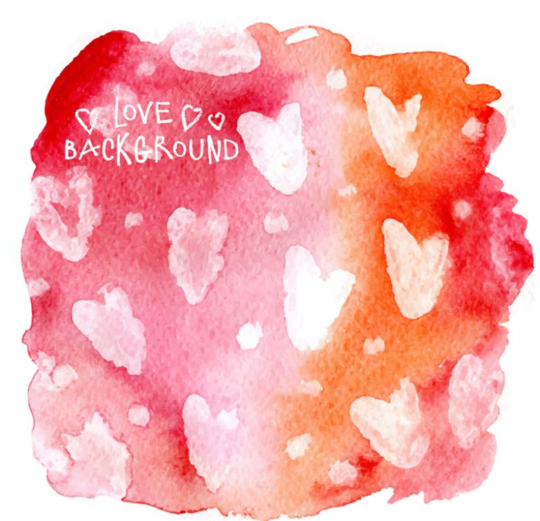 Creative Background Watercolor Love Vector