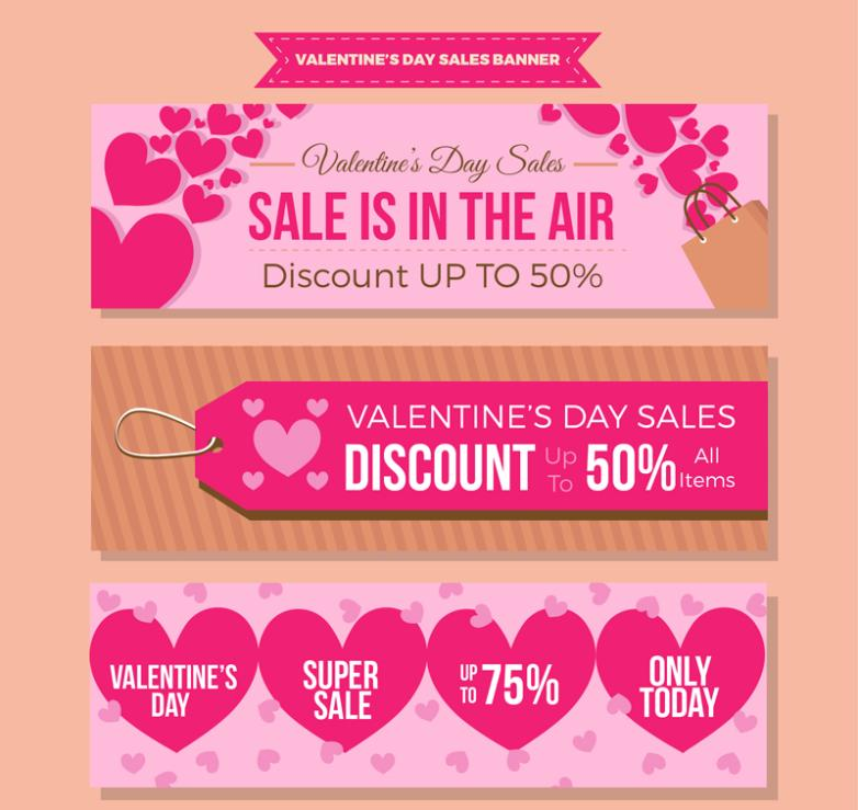 Valentine's Day Love Discount Banner 3 Model Vector