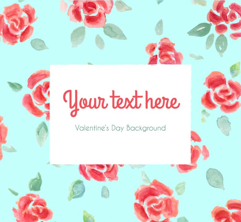 Watercolor Rose Seamless Background Vector
