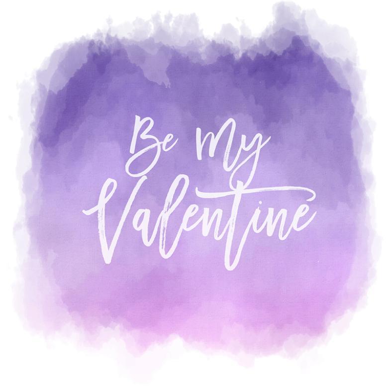 Purple Watercolor Valentine's Cards Vector