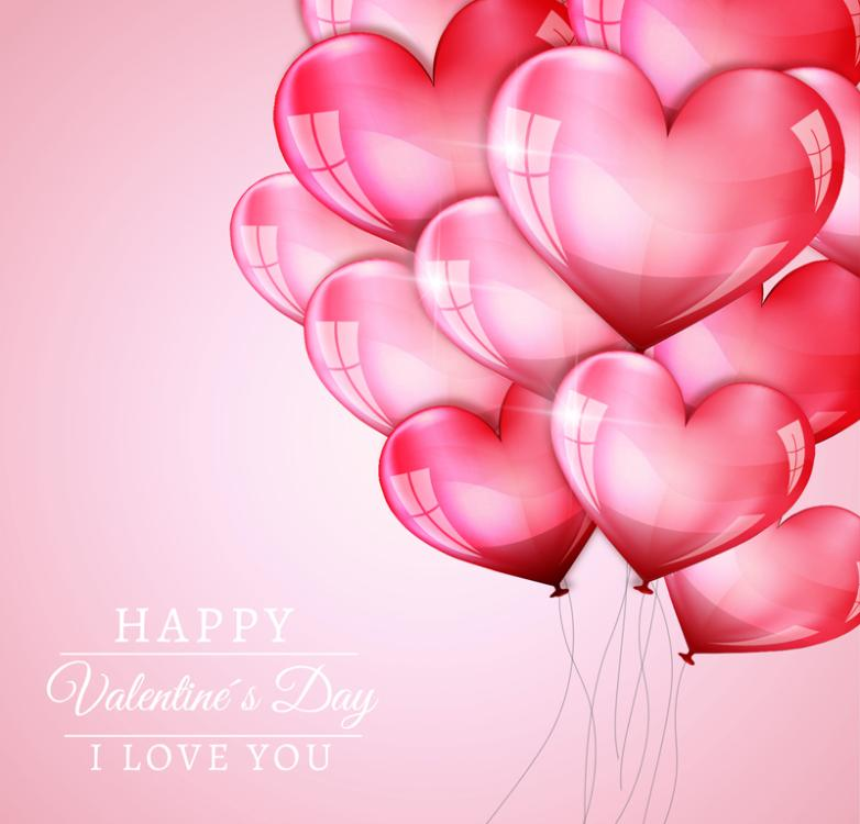 Beautiful Valentine's Day Love Balloons Vector