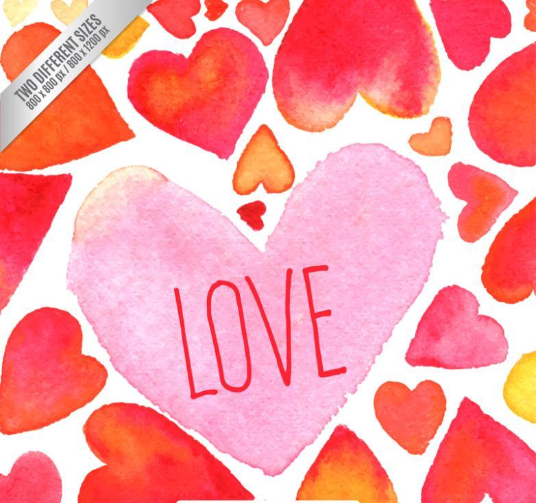Watercolor Love Design Vector