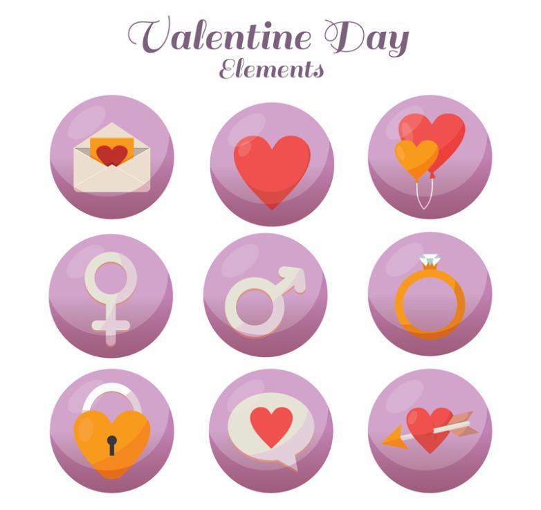 Nine New Round Icon Valentine's Day Vector