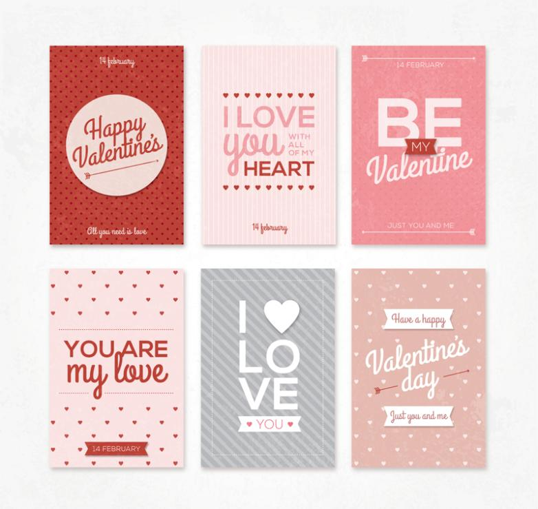 Six Color Valentine's Day Cards Vector