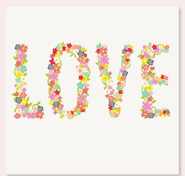 Cartoon Flower Art Words Of Love Vector