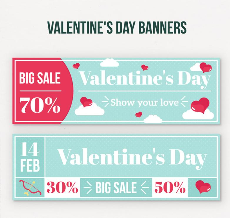 2 Or More Discount Banner Valentine's Day Vector