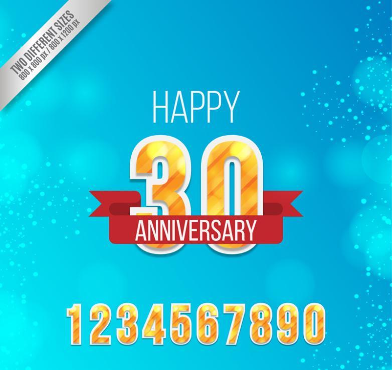 Golden 30th Anniversary Digital Cards Vector
