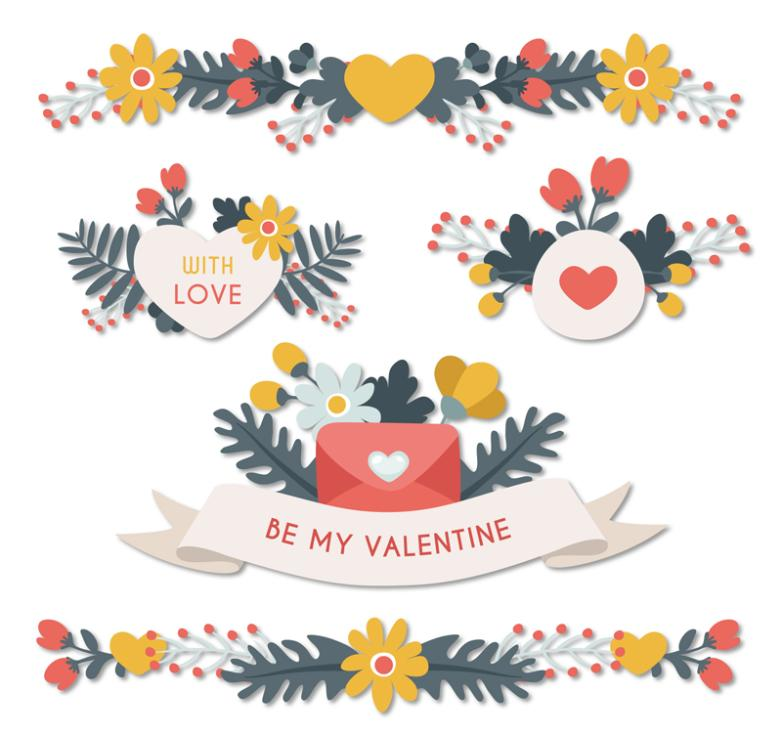 5 Color Flower Stickers Valentine's Day Vector