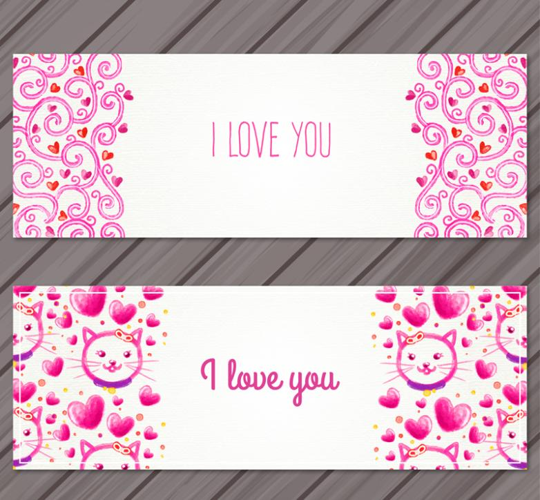 Two Watercolor Banner Valentine's Day Vector