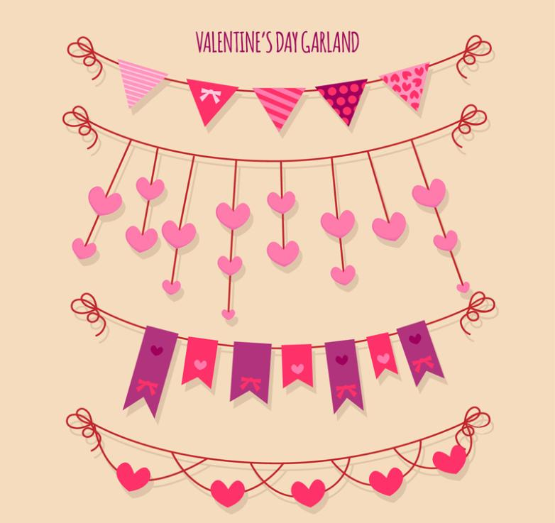 4 Creative Valentine's Flag Vector