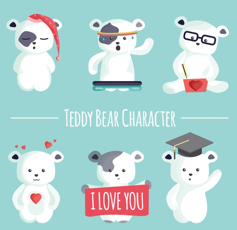 Six Cartoon White Bear Vector