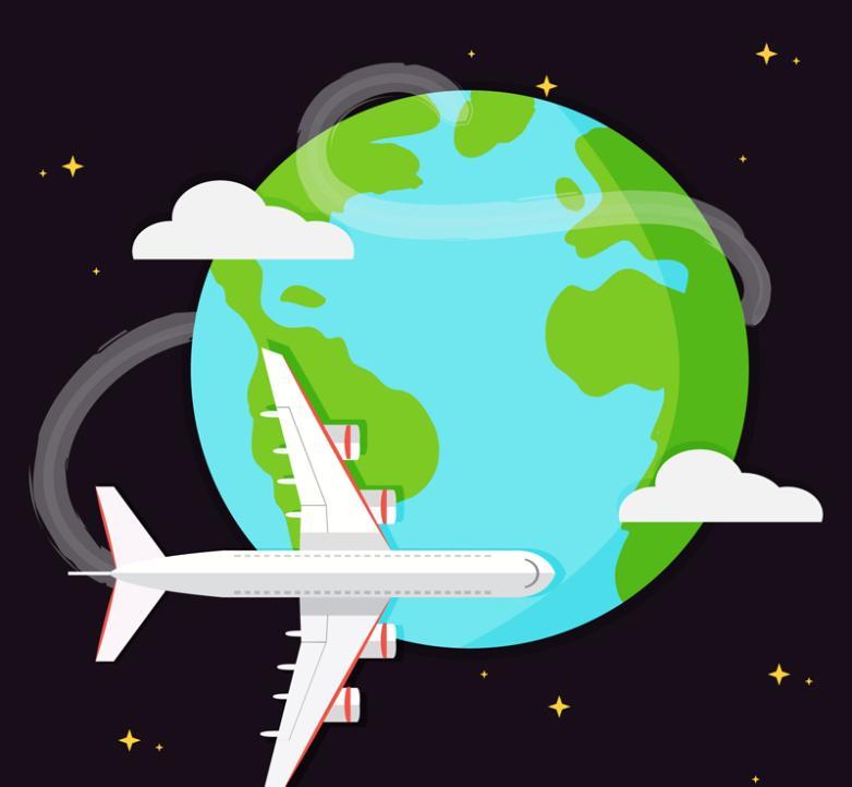 The Global Flight Plane Illustrations Vector