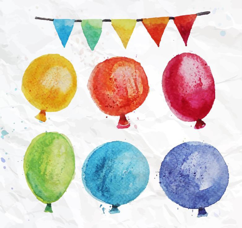 Six Color Watercolor Balloon Vector