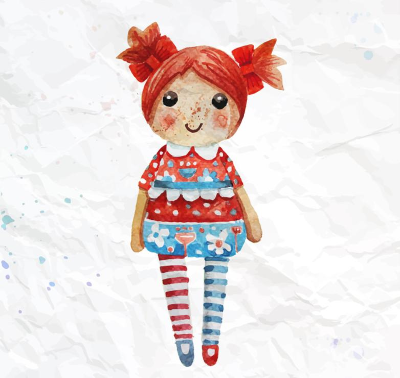 Water Orange Coloured Drawing Or Pattern Release Dolls Vector