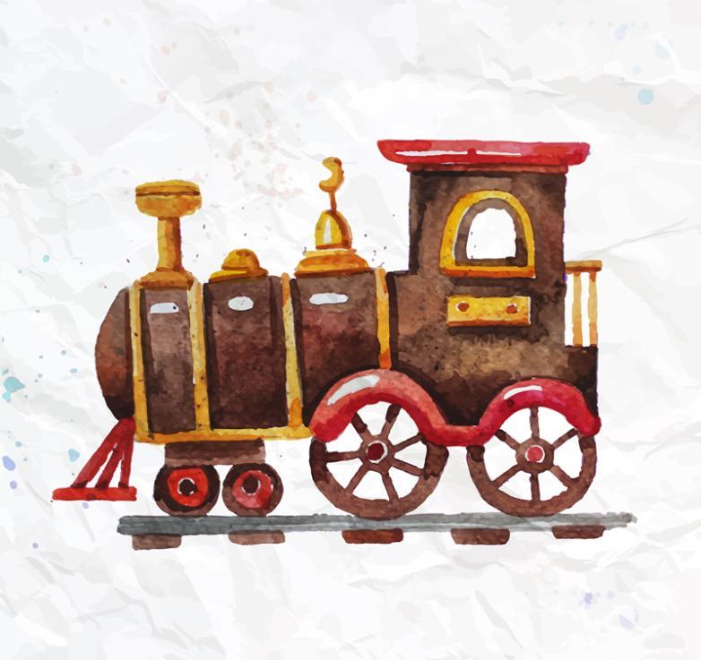 Watercolor Toy Train Vector