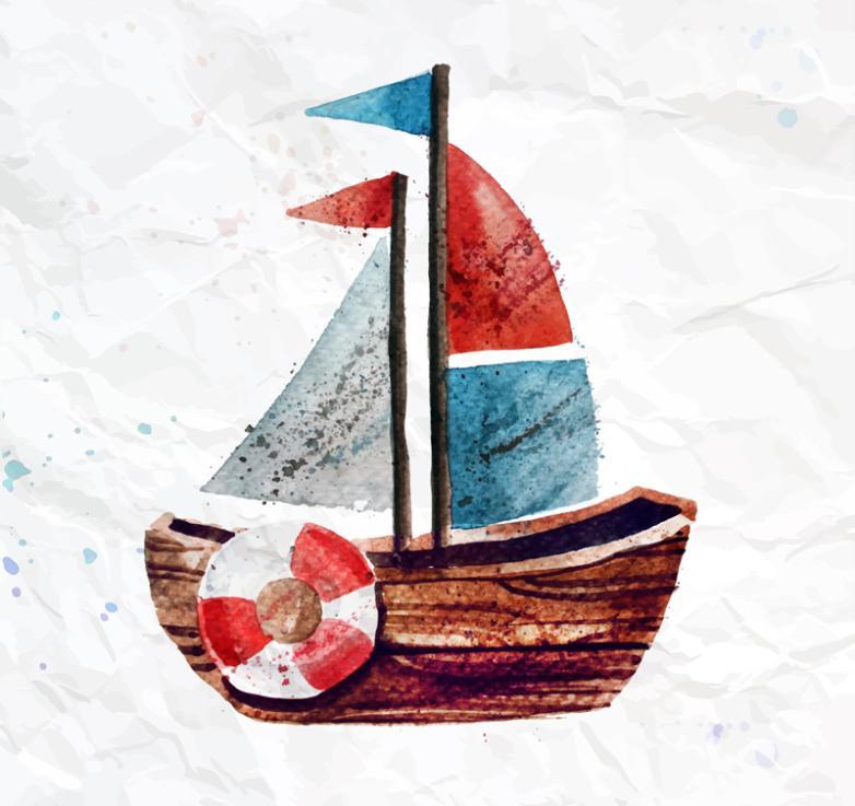 Watercolor Sailing Toys Vector