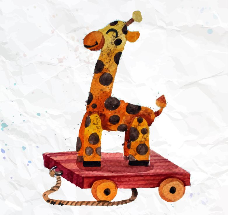 The Giraffe Doll With Wheels Vector