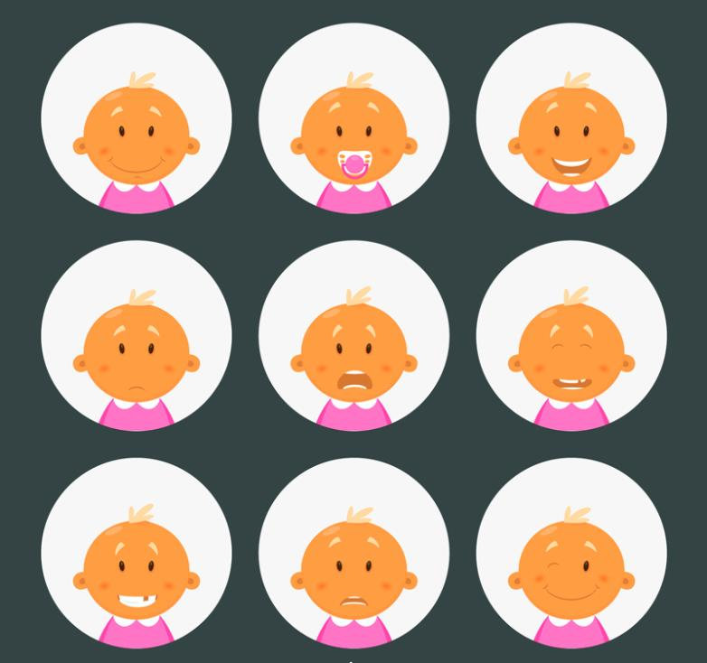 Nine New Cute Baby Face Vector