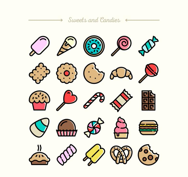 25 Delicate And Sweet Icon Vector