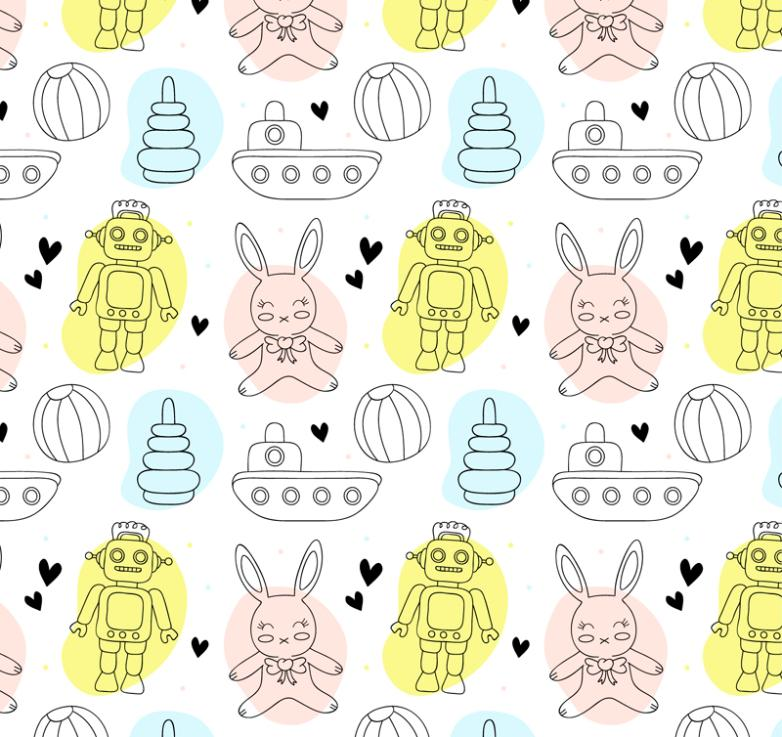 Seamless Background Painting Robot And Rabbit Toys Vector