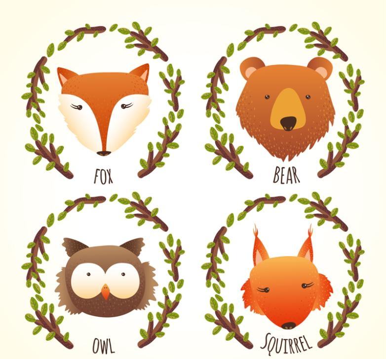 4 Cartoon Forest Animal Portraits Vector