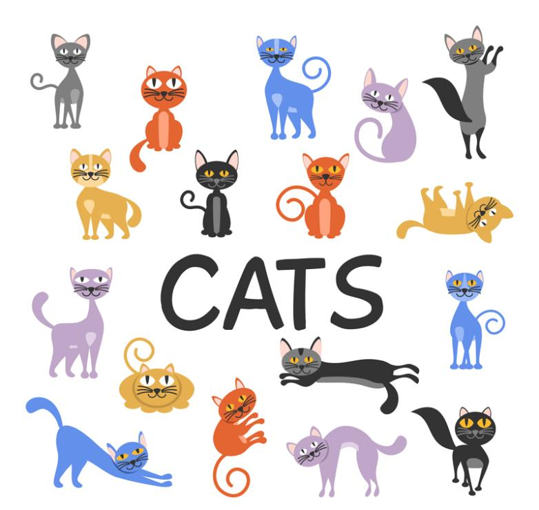 17 Cartoon Cat Designs Vector
