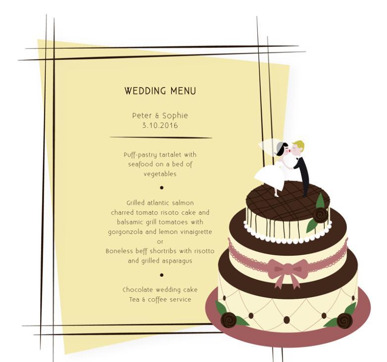 Creative Wedding Cake Menu Vector | Free Vector Graphic Download