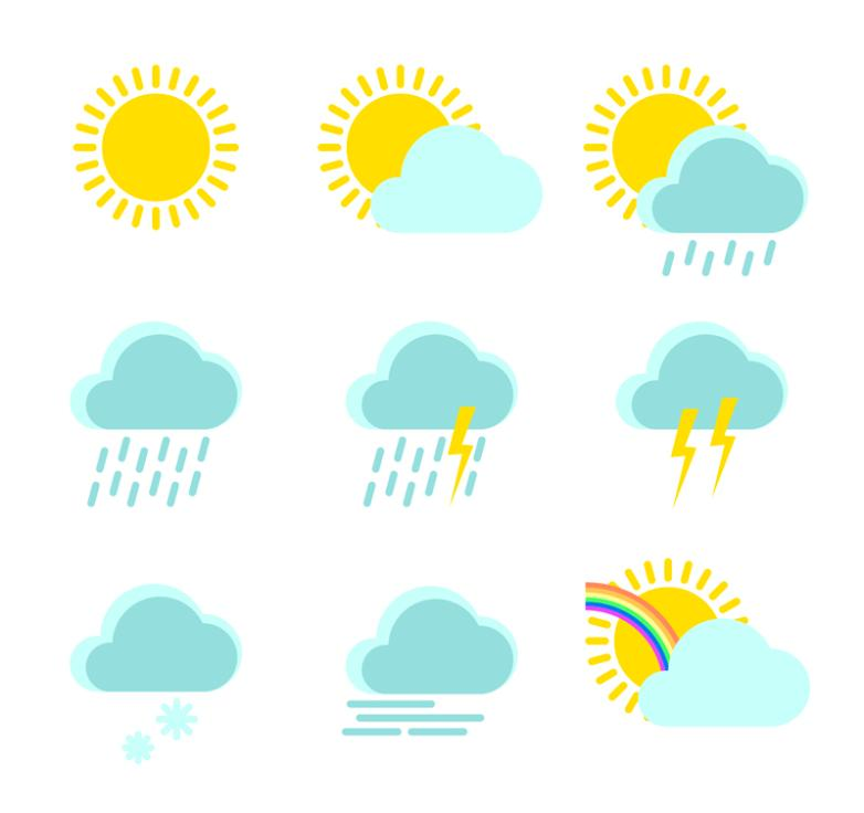 Nine New And Fresh Weather Icon Vector