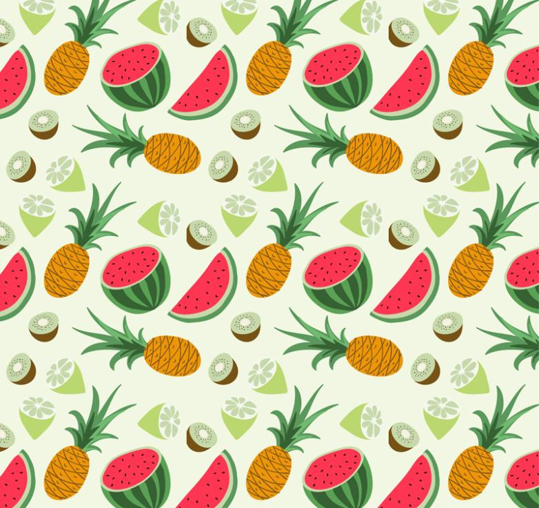 Tropical Fruits Pineapple And Watermelon Seamless Background Vector