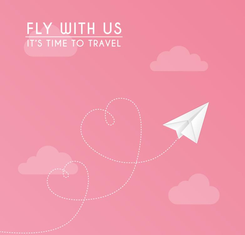 Pink Paper Airplane In The Sky Vector