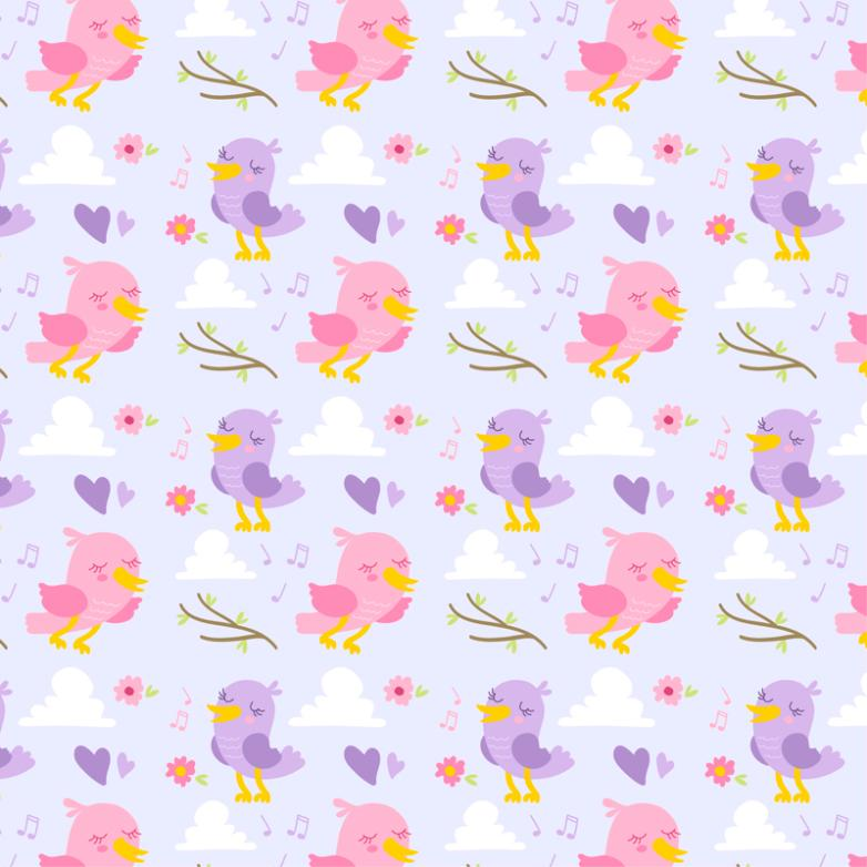 Purple And Pink Bird Seamless Background Vector
