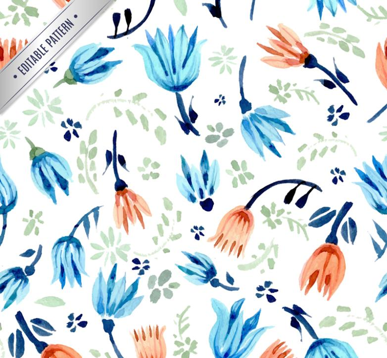 Simple But Elegant Seamless Background Watercolor Flowers Vector