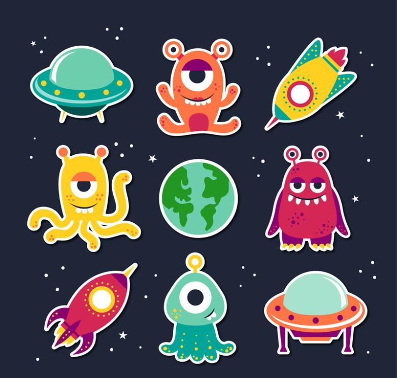 Nine New Cartoon Et And Ufo Vector