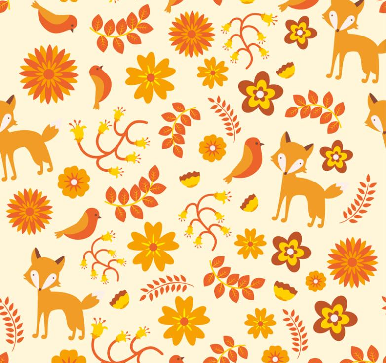 Seamless Background Color Foxes And Leaves Vector
