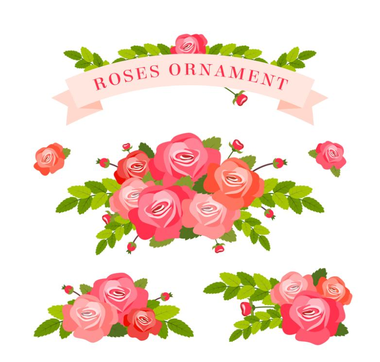 Three Beautiful Bouquets Of Roses And Ribbon Vector